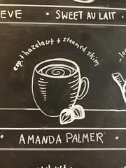 Description of Amanda Palmer at Caf Pamplona (jillyjally) Tags: amandapalmer cafpamplona chalk board drawing handwriting mug cup