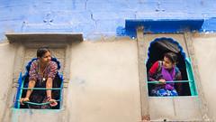 Conversation (Karunyaraj) Tags: conversation ladies women blue bluecity bluewall yellowbuilding yellow jodhpur rajasthan chennaiweekendclickers cwc561 cwc nikond610 nikon24120 fullframe fx mother daughter