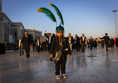 Child dressed as iman hussein in a procession during muharram celebrations in fatima al-masumeh shrine, Central county, Qom, Iran (Eric Lafforgue) Tags: 9people ashura boy celebration ceremony child colorimage culture day feathers fullframe ghom green groupofpeople horizontal hussain imamhussein iran iranian largegroupofpeople lookingatcamera memorialevent men middleeast mourner mourning muharram muslim orient ornate outdoors people persia persian photography portrait qom religion religious ritual shia shiism shiite tradition centralcounty