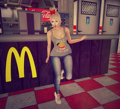 Do You Want Fries With That? (Juliet Nirvana) Tags: vinyl secondlife second life sl catwa maitreya realevil industries oleander pink pearl designs mc donalds mcdonalds fast food take out first job french fries