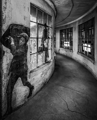 Ellis Island Contagious Disease Wards (johnredin) Tags: bw ellisisland newyork streetart abandoned architecture cities doorswindows