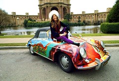 Janis Joplin with Car (kevin63) Tags: lightner photo singer sixties janis joplin blues car psychedelic painted sportscar hat