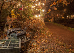 NOV282015 ( estatik ) Tags: new hope pa pennsylvania bucks county tow path canal dr state park typewriter old fashioned decoration odd oddity unusual sighting fall november 28 2015 112815 night long exposure dark light lights