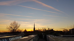 Lines (James_Currie) Tags: sunset sun sunny sunlight golden hour goldenhour yellow orange lines plane aeroplane smoke chimney church spire churchspire silhouttes silhouettes silhouette blue sky bluesky cloud clouds trees tree branch branches windows window reflection reflections pink urban landscape city preston lancashire uk photography samsung galaxy s7 samsunggalaxys7