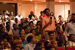 Students attending the Detroit Scholarship Fund's Summer Ceremony in August ask questions about scholarship eligibility.
