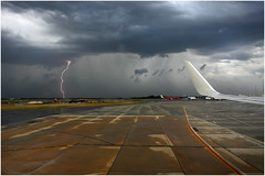 Perth Airport lightning (beninfreo) Tags: storm window plane canon airplane eos airport australia perth western detector daytime lightning trigger 40d canon40d therebeastormabrewin lightningstormthunderwesternaustralia