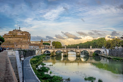Castel Sant'Angelo (nick88msn) Tags: bridge sunset italy rome roma castle water museum reflections river italia tourist ponte mausoleum tevere lungotevere getty hadrian castel gettyimages touristic santangelo crepuscolo 5photosaday