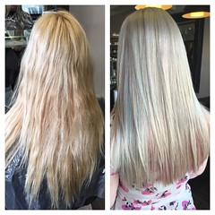 "#beforeandafter #iceblonde #pastelhair #pinkdream #pastelblue #cutandcolor #hair #wellahair @blush_haircardiff • <a style=""font-size:0.8em;"" href=""http://www.flickr.com/photos/119571362@N02/21429163373/"" target=""_blank"">View on Flickr</a>"
