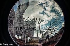 XM24 (Federico Ticchi) Tags: street blue color lomo lomography fisheye bologna writer murales xm24 bolognina 2015 sovrapposizione