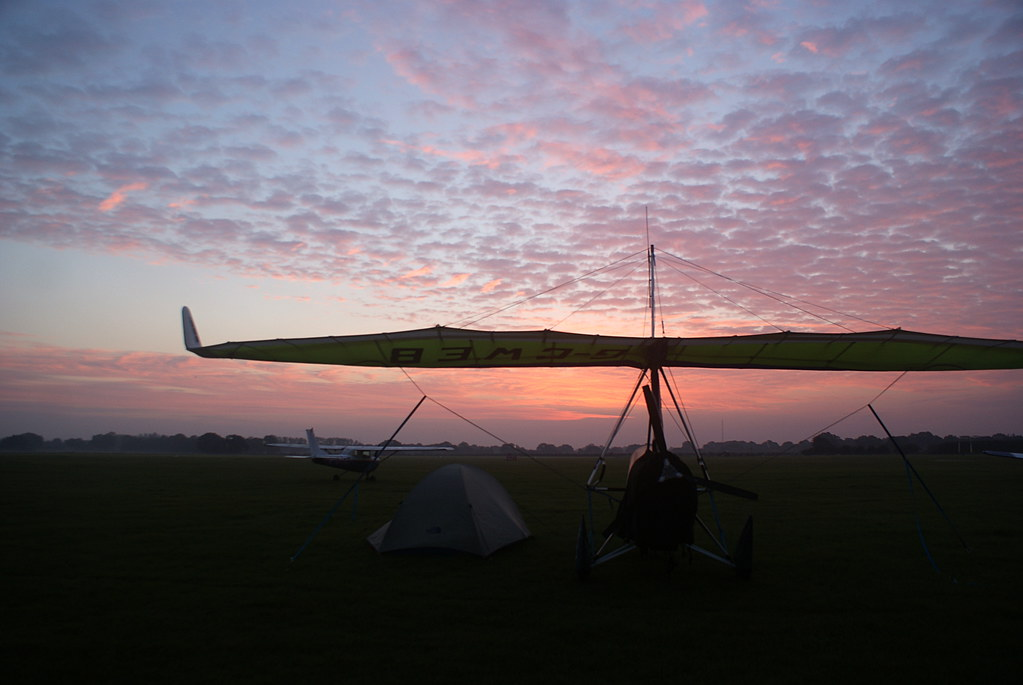 Dawn at Headcorn in Kent - time to pack up the tent and get going to France
