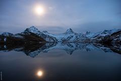 Bachsee in moonlight (orionarbor) Tags: autumn snow mountains alps reflection switzerland moonlight bern grindelwald spiegelung schreckhorn wetterhorn finsteraarhorn summits bachalpsee bachsee patrickmhl