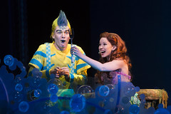 Adam Garst as Flounder and Alison Woods as Ariel in Disney's The Little Mermaid presented by Broadway Sacramento at the Community Center Theater Feb. 2-7, 2016. Photo by Bruce Bennett, courtesy of Theatre Under The Stars.
