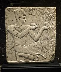 Relief depicting either Pharaoh Nectanebo I or II offering wine Egypt Late Period 30th Dynasty 380-343 BCE Limestone (mharrsch) Tags: pharaoh king ruler nectanebo worship religion offering kilt crown khepresh bluecrown lateperiod 30thdynasty 4thcenturybce egypt relief nelsonatkins museum kansascity missouri mharrsch