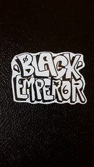 (BLACKEMPERORca) Tags: white streetart black graffiti stickers slaptag throwie stickertrade
