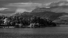 Trees on the Loch (GOR44Photographic@Gmail.com) Tags: trees bw cloud water mono scotland hills fujifilm loch lomond xf1 gor44