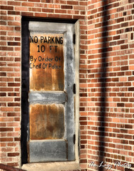 Oct 2011 - Back door of old Kerby Theatre in Worland (lazy_photog) Tags: lazy photog elliott photography kerby theatre old abandoned razed back door no parking