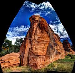 Red stone at Canyon De Chelley (JoelDeluxe) Tags: canyondechelley chelley tsyui navajonation nationalmonument canyon muertos cottowoods redrocks sandbed wash ruins az arizona hdr joeldeluxe