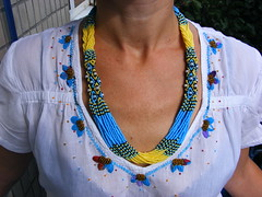 Колье-гердан желто-голубое (Seed Bead Necklace) Tags: necklace jewelryonetsy jewelry holidayjewelry handmadejewelry ukrainianjewelry etsy etsymntt etsyshop beadednecklace yellowblue ukrainian ukrainiannecklace