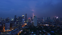 Lightning strike, Makati City (Sumarie Slabber) Tags: lightningstrike sumarieslabber philippines manila city nikon night blue makati skyline d750 explore