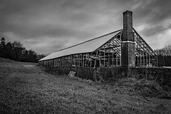 Abandoned greenhouse (Terje Helberg Photography) Tags: bw forfall abandoned blackandwhite bnw brokenglass chimney clouds creepy decay greenhouse neglected old scary sky spooky unattended urbex hordaland bergen samsung nx30 nx