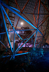 Light, colors, and a camera (V.Duplain) Tags: night photography light lights canon 6d 1740mm flash gels blue red moon moonlight angle angles structure icone architecture metal triangle montreal quebec canada tourism explore slow shutter