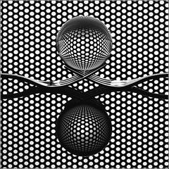48/52 : Glass ball Reflection (Hervé Marchand) Tags: rennes 2016 glass ball reflection fork grid perforatedmetalsheet texture ligne abstraction minimalism circle flash week482016 52weeksthe2016edition weekstartingfridaynovember252016 53 challenge light