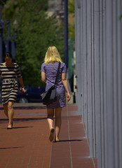 Coming & Going (swong95765) Tags: women females ladies blonde walking perspective go come back front incline