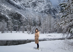 the solace of snow (areacode) Tags: yosemitevalley california snow yosemite winter snowfall coat boots girl pensive