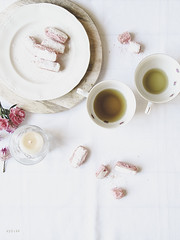 Tea for two (Sylvia Houben) Tags: tea pinkbiscuits teafortwo candle flowers