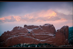 Peak'ing Through (ctofcsco) Tags: 1250 110mm 28300mm 56 5d 5dclassic 5dmark1 5dmarki canon colorado coloradosprings ef28300mmf3556lisusm eos5d explore f56 gardenofthegods gardenofgodscom co explored geo:lat=3888291309 geo:lon=10487192980 geotagged gleneyrie image kissingcamels landscape mesaroad mesaroadoverlook photo pikespeak superzoom telephoto unitedstates usa outdoor mountain sky clouds rock rocks