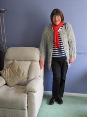 I am off to work soon...... (Sonia Greene) Tags: mature crossdress pants trousers loop red scarf
