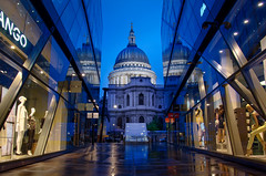 One New Change 2014, reprocessed (raphael.chekroun) Tags: london onenewchang bank city squaremile england longexposure night hdr shop mango saintpaul stpaul st paul architecture reflections marscaper bluehour
