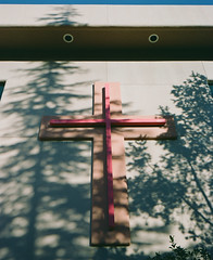 Cross (caseyharrison) Tags: plaubel makina 670 nikkor fuji mediumformat rangefinder 6x7 sedona red rock 120 film shadows trees sunset cross church