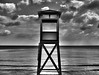Florya Beach Tower (Bkutlak H.D) Tags: florya beach landscape minimal black light long line lines loneliness white wb work water sea sky silhouette collection creative composition cloud city clouds capture outdoor hdr dream dark mono monochrome melancholic melancholy mystic