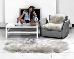 Athletic Asian Legs With Shoes on Fur Rug (Uggling) Tags: sneakers nike nikeairmax90 feet legs thighs asian athletic healthy dirty runners shoes sheepskin rug rugs sheepskinrug fur furrug furryrug furniture socks quad animalskin animalskinrug softrug sole sock oriental