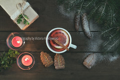 Hot tea and Christmas gift (victoria.kondysenko) Tags: box branch brown candle christmas clew cone craft eco ecological fir gift holiday light merry natural object rustic vintage wooden wrap xmas tree spaces hot traditional green white food sweet cookie tea cinnamon lemon cup