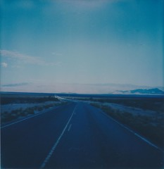 Road to Death Valley (bowerbirdnest) Tags: desert nevada california death valley deathvalley lakemead polaroid polaroid600 sx70 sx70sonar theimpossibleproject