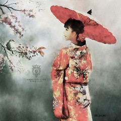 Winter's End (Greg Collins Fine Art) Tags: orient oriental asia asian kimono umbrella flower blossoms cherry bird dress spring winter girl woman female gray green white yellow red orange pink brown geisha japan japanese china chinese lady culture exotic fashion person people