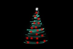 Christmas tree light (devinshipleysw) Tags: christmas holiday seasonal xmas abstract bauble blackbackground light tree green joy decorated ornament december decoration copyspace celebration modern magical night