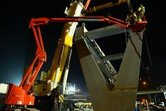 Pedestrian bridge IJzerlaan DST_4206 (larry_antwerp) Tags: antwerpenmobiel ijzerlaan voetgangersbrug fietsbrug albertkanaal merksem aertssen besix antwerp antwerpen       port        belgium belgi          terex ac5002 kraan crane