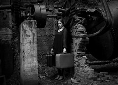 Leaving Behind A Troubled Mind Part 2 (Maren Klemp) Tags: blackandwhite selfportrait abandoned ruins factory darkness bricks running series cinematic suitcase gears mentalhealth fineartphotography darkart escaping evocative femalephotographer mentalawareness womanfemale expressivephotography fineartphotographer darkartphotography photographersonflickr photographersontumblr