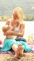 renaissance - breastfeeding (braunpanther - golden colibry photo) Tags: woman baby nature beautiful beauty sunshine river hair nice child feeding bank breastfeeding