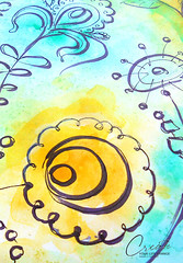 doodling ideas - flowers in green & yellow (createyourlifechange.com) Tags: blue inspiration plant flower green art love beautiful beauty leaves yellow illustration watercolor photography diy photo leaf artwork paint artist arte artistic handmade turquoise patterns crafts journal creative like craft images follow doodle marker create lovely capture ideas tutorial doodling techniques beginners followme