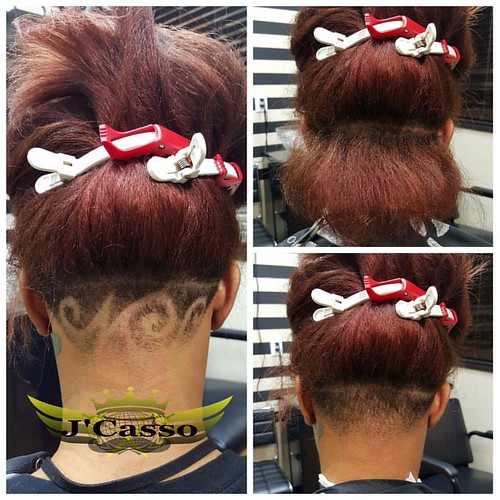Before  After look of the transformation of a ladys nape freestyle hair