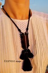 boho-chic-pendant (Ezartesa) Tags: cream beadwork blackleather blackandbrown glassseedbeads bohemiannecklace bohochicpendant cottontassels