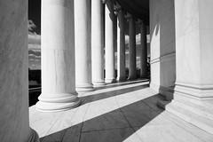 Sun and shade (sarah_presh) Tags: usa sun holiday monochrome mono washingtondc memorial noir shadows columns roadtrip shade iphoto jeffersonmemorial thomasjefferson nikond7100