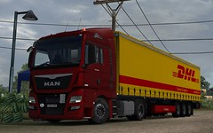 Man TGX1 (The Domin162) Tags: red 6 man game yellow truck computer outside krone euro transport software vehicle trailer simulator scs dhl tgx
