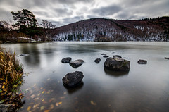 Chambon lake [Explore] (gael63) Tags: longexposure autumn mountain lake snow france landscape eau exposure lac auvergne massifdusancy murol lacchambon