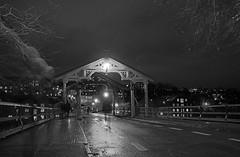 stillness (krøllx) Tags: street bridge winter people blackandwhite bw white black norway dark lights mood streetphotography atmosphere bluehour trondheim bakklandet gamlebybro 1511250014