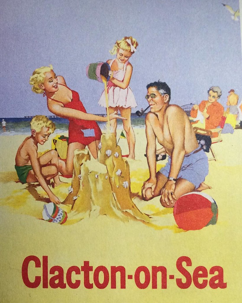 The longer I look at this family group, the weirder they seem. #Clacton #BritishRailways #poster #1958. Mind you, I remember my own dad smoking a pipe on the beach in 1958 and there was nothing weird about us...